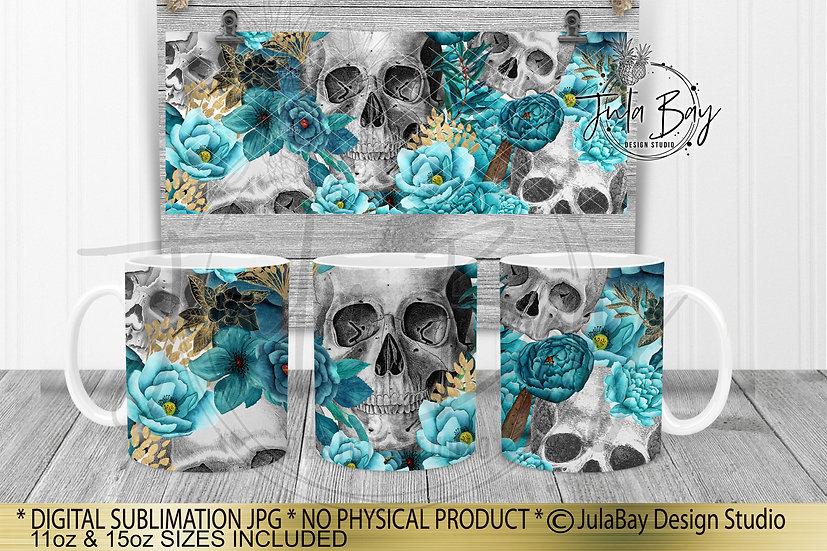 Skulls and Flowers Full Mug Wrap Sublimation Design Teal 11oz Mug Wrap 15oz Mug