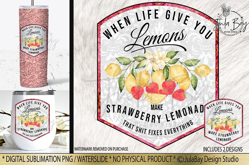 Strawberry Lemonade Drink Label PNG Sublimation Design Waterslide Design