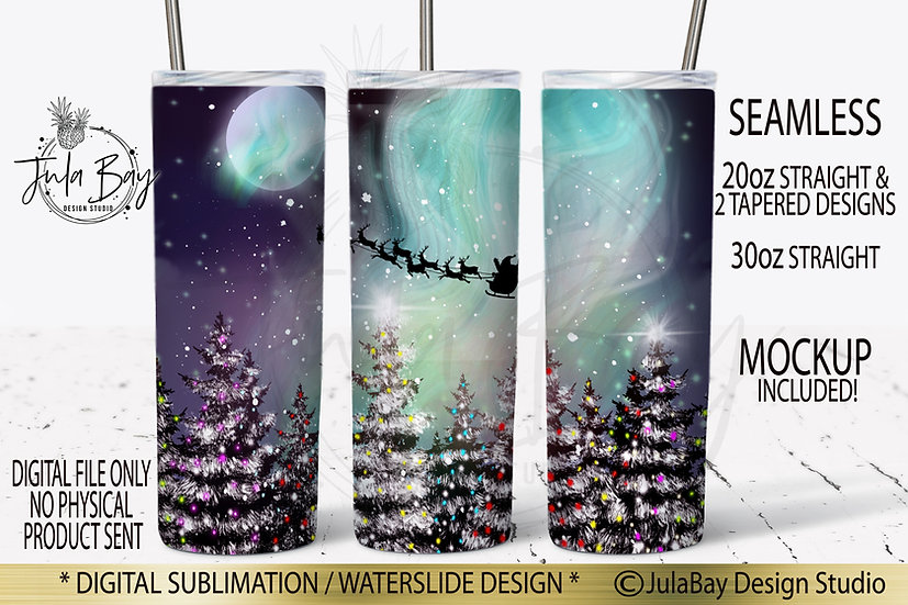 Christmas Trees Northern Lights Skinny Tumbler Sublimation Design Tumbler Santa