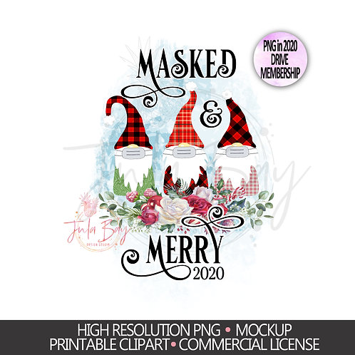Christmas Gnomes with Mask Sublimation Design - Funny Christmas Gnomes PNG