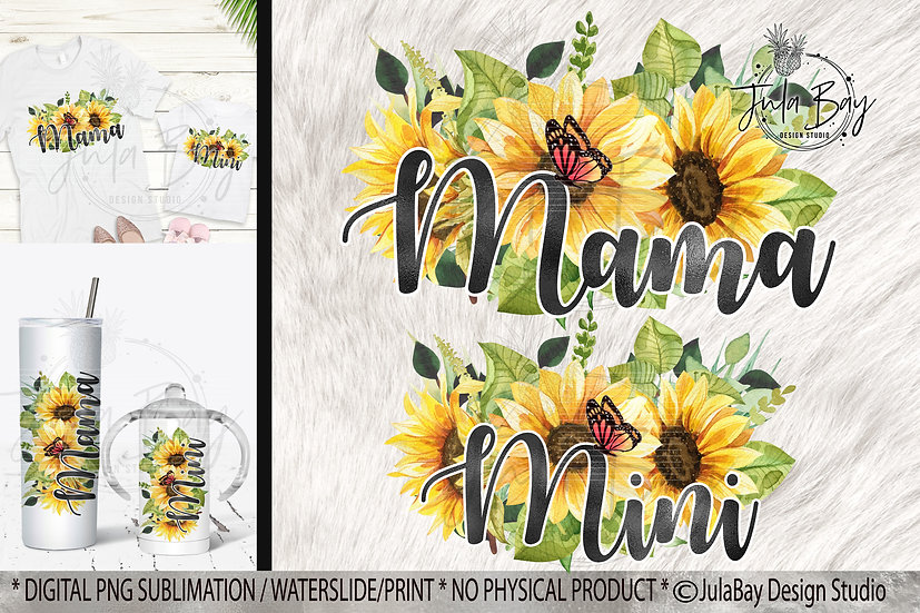 Sunflower Monarch Butterfly Mama and Mini Sublimation Design Tshirts Tumblers