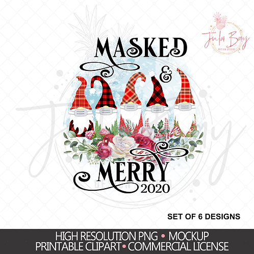 2020 Gnomes with Masks PNG Sublimation Design - Funny Christmas Gnomes