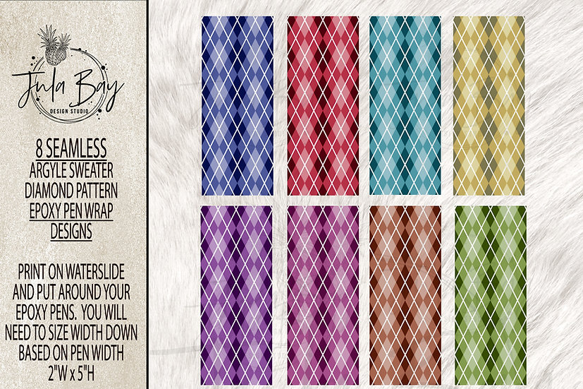 Argyle Pattern Pen Wrap for Epoxy Glitter for waterslide or printable vinyl PNG