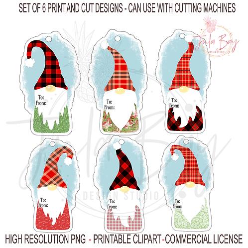 Gnomes Christmas Gift Tags Bundle PNG Print and Cut Gnomes Colorful Fun