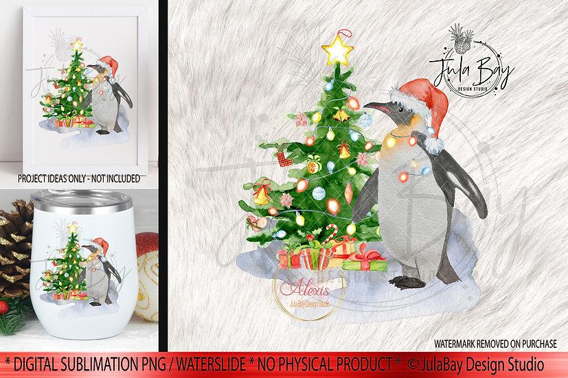 Penguin Christmas Tree Sublimation Digital Downloads - Penguin Christmas PNG