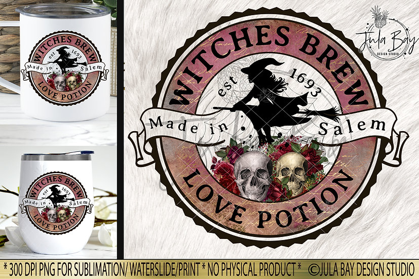 Witches Brew Love Potion Halloween Label PNG Potion Label Elixir