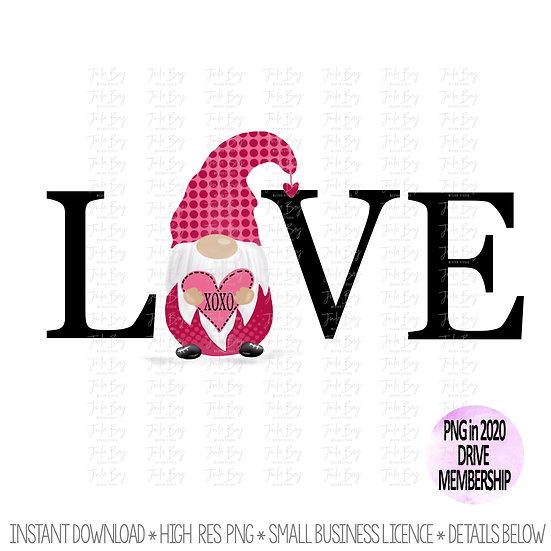 Pink Gnome with Heart - Love Gnome - Valentines day Gnome Graphic Design