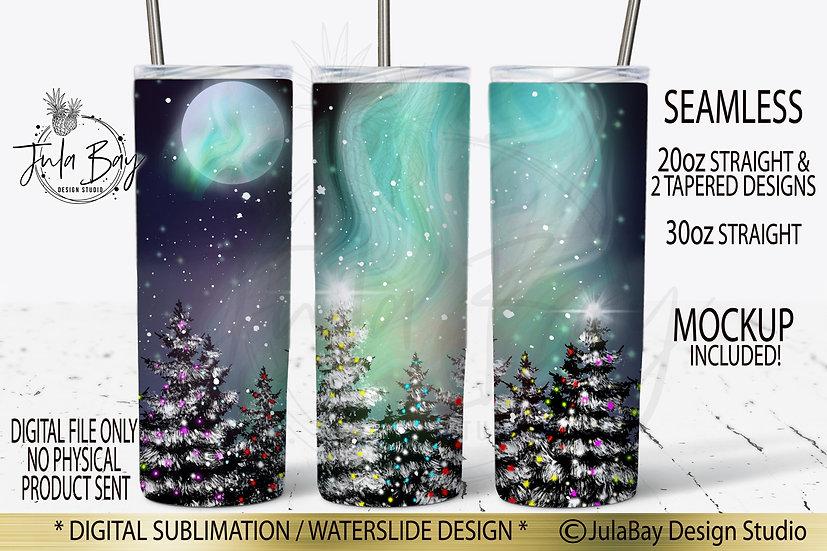 Christmas Trees Northern Lights Skinny Tumbler Sublimation Design Tumbler Wrap