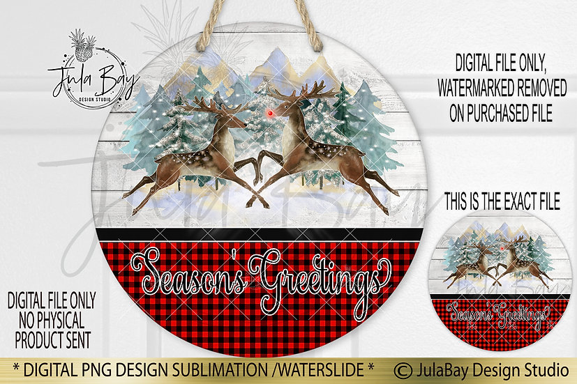 Round Sublimation Door Hanger Merry Christmas PNG Reindeer Buffalo Plaid