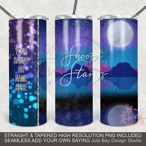 Shoot for the Stars PNG Moonlight Customizable Full Wrap Sublimation Design