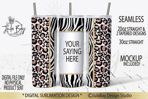 Rose Gold Leopard Print Zebra Seamless Full Wrap PNG Sublimation Tumbler