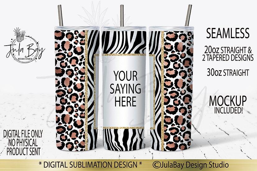 Rose Gold Leopard Print Zebra Seamless Skinny Tumbler Full Wrap PNG Sublimation