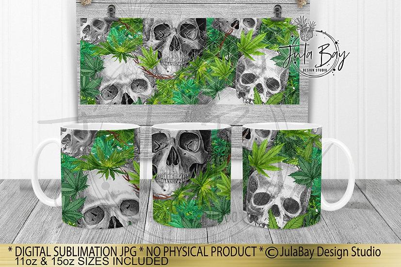 Skulls & Cannabis Full Mug Wrap Sublimation Design 11oz Coffee 15oz