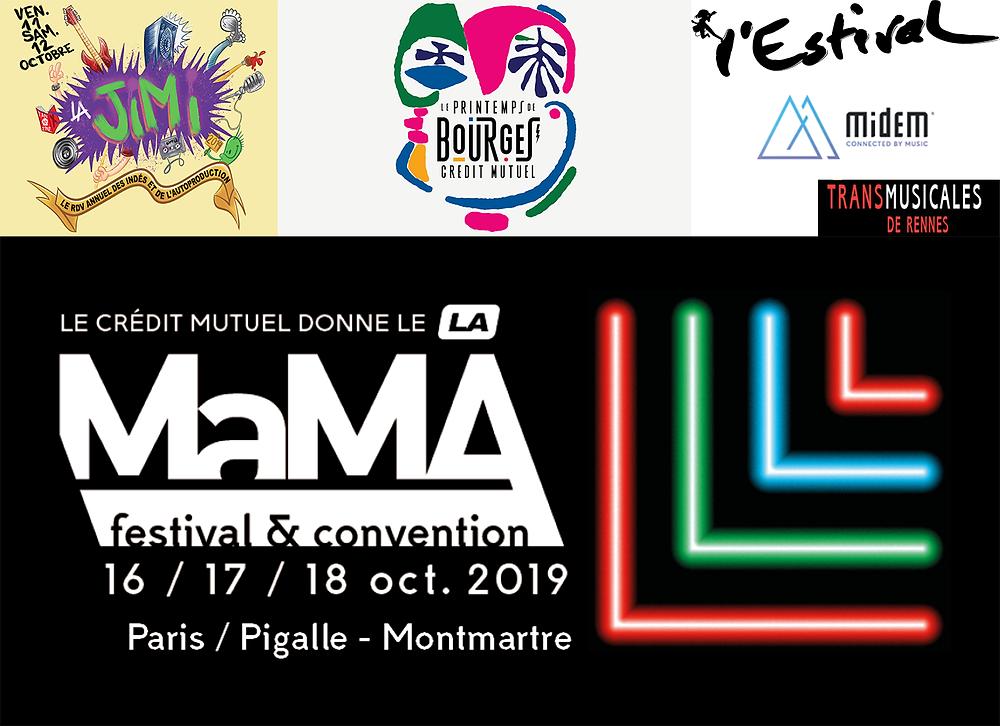 MaMA, Midem, Estival, Printemps de Bourges, Ricard Live, JIMI, Transmusicales