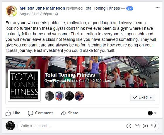 total toning fitness reviews & tetimonial melissa