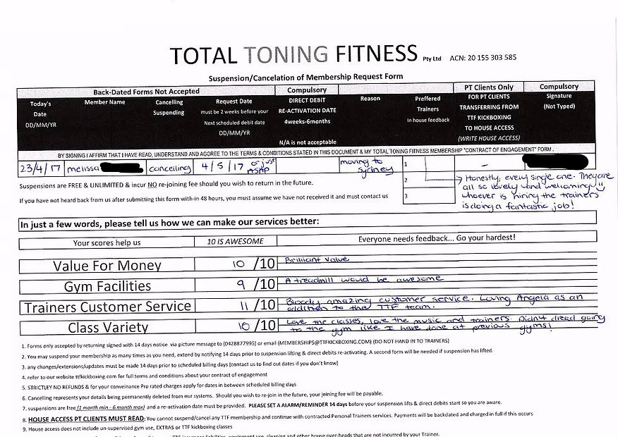 total toning fitness reviews & tetimonial mellisa