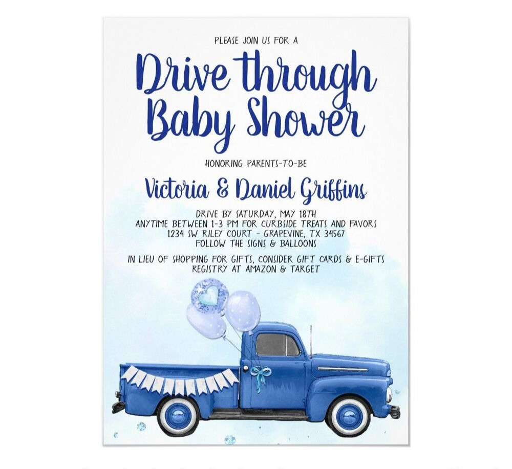 drive by baby shower invites