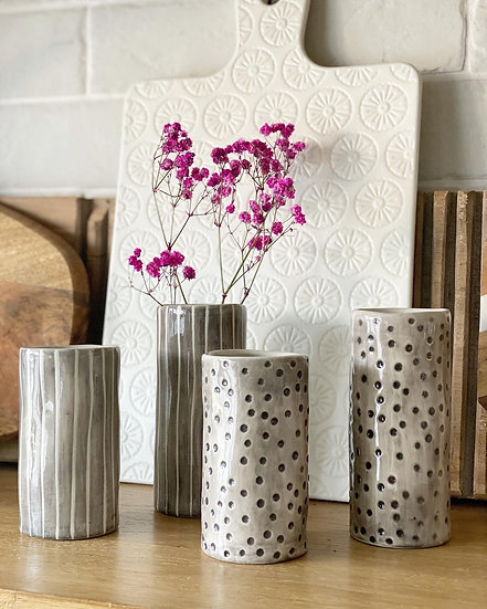 Tall and short polka dot and stripe bud vases