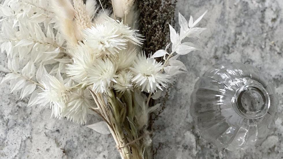 White mini everlasting bouquet and vase bundle