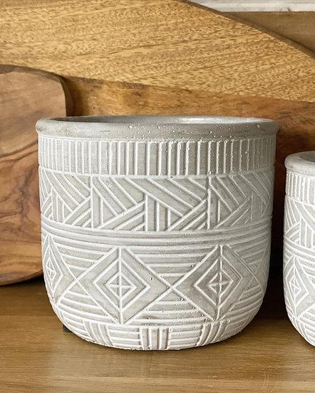 Cement pot with white design