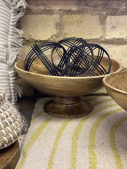Solid wooden dish on a pedestal