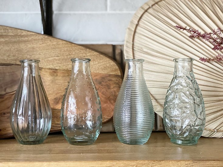 Bud vases in four assorted patterns