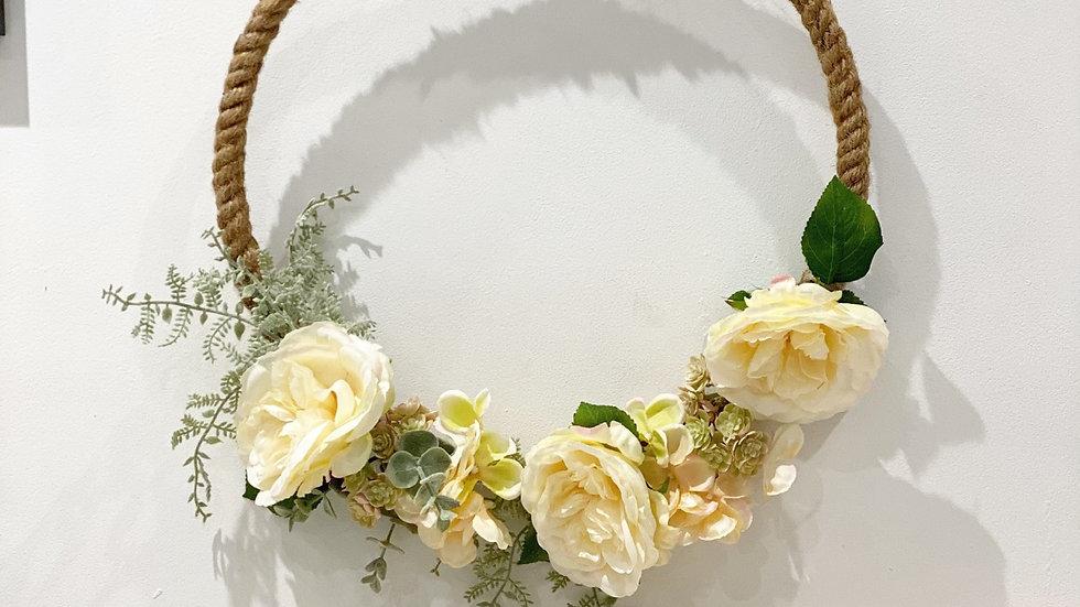 Faux hydrangea, rose and eucalyptus Jute wreath