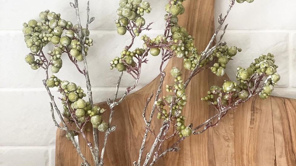 Green faux snowberry stem
