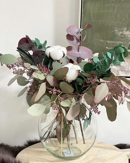 Plum bouquet & vase set