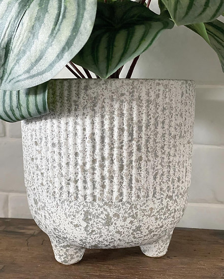 Textured ribbed plant pot