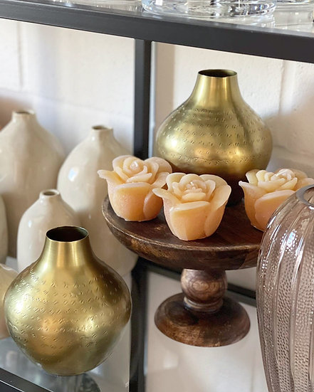 Apricot rose coloured candle