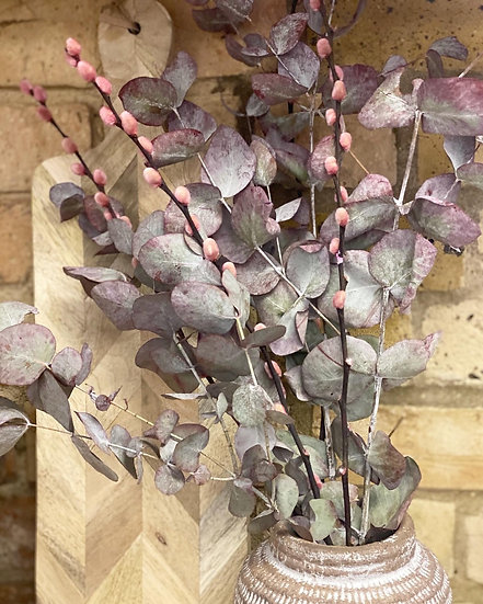 Dried purple eucalyptus and dried pink willow bunch