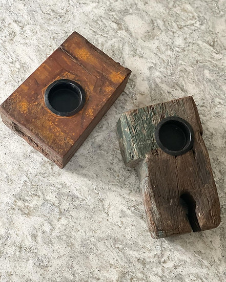 Recycled wooden votive tealight holders