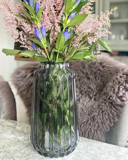 Large smoked ridged vase