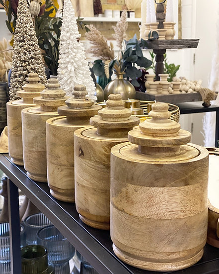 Mango wooden canister