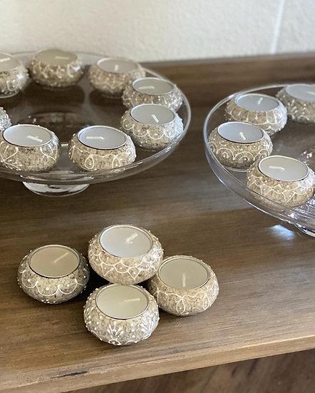 Marble bohemian tealight holders