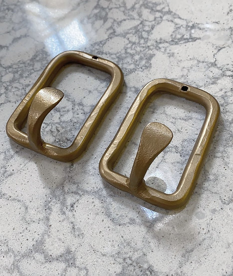 Tima hammered brass hooks-set of two
