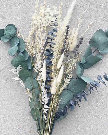 Large bleached heather and lavender bouquet