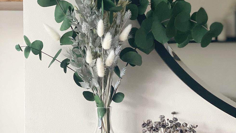 Grey ruscus and phalaris bouquet