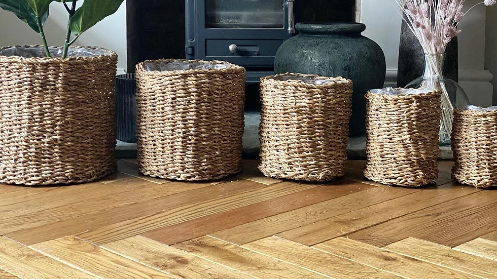 Woven lined baskets
