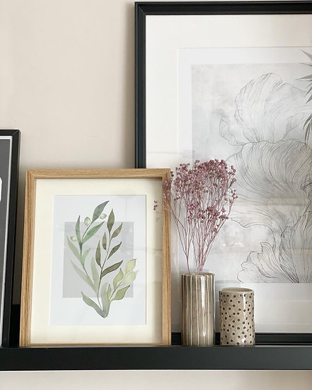 Olive print in frame 20cm by 24cm