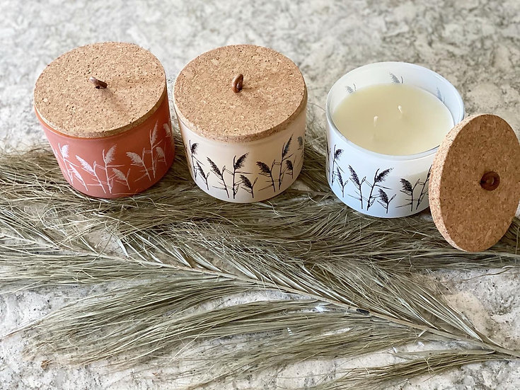 Pampas design double wick candle