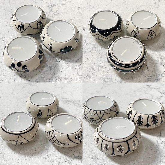 Set of 3 marble black and white bohemian tealight holders
