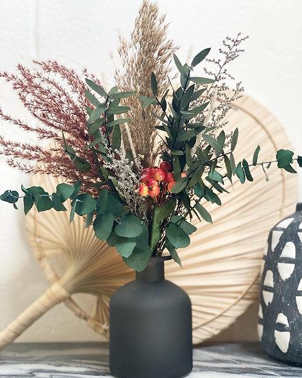Faux berry bouquet and vase set