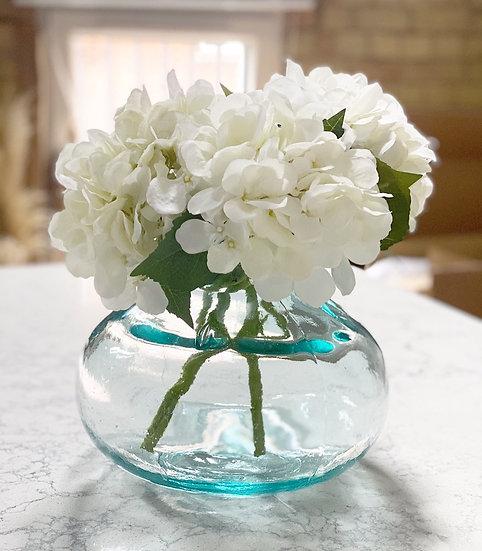 Isabelle large eco vase with 4 white faux hydrangeas