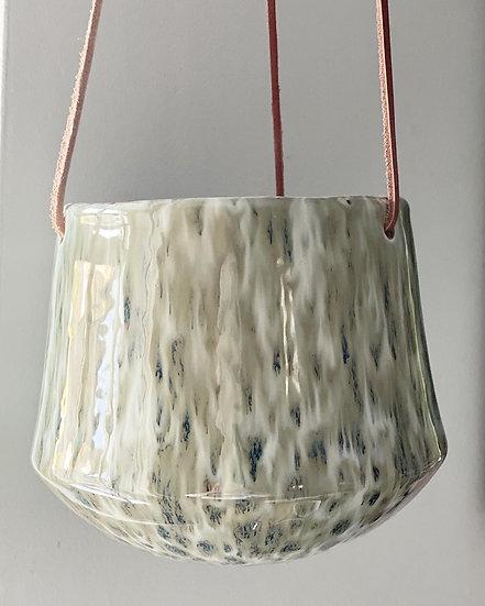 Hanging stoneware flowerpot