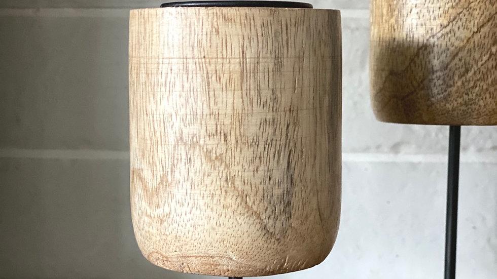 Shorter mango wood candle holder