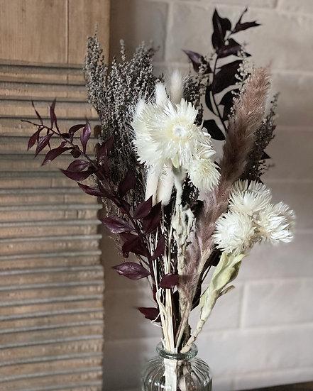 Burgundy stoebe bouquet and vase set