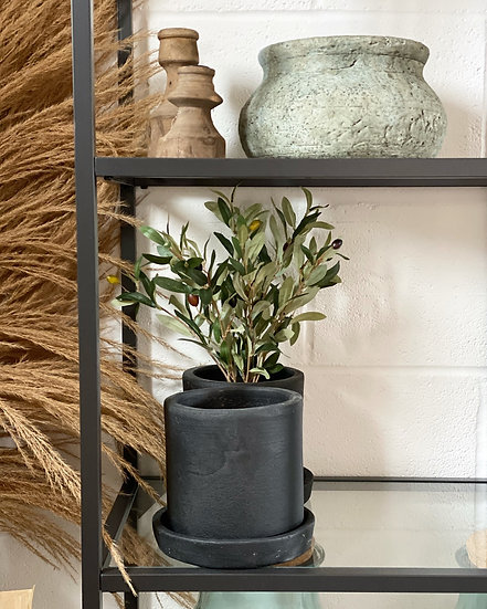 Black terracotta plant pot with saucer