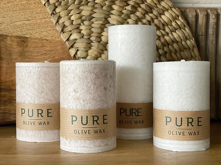 Olive wax candles in natural or white